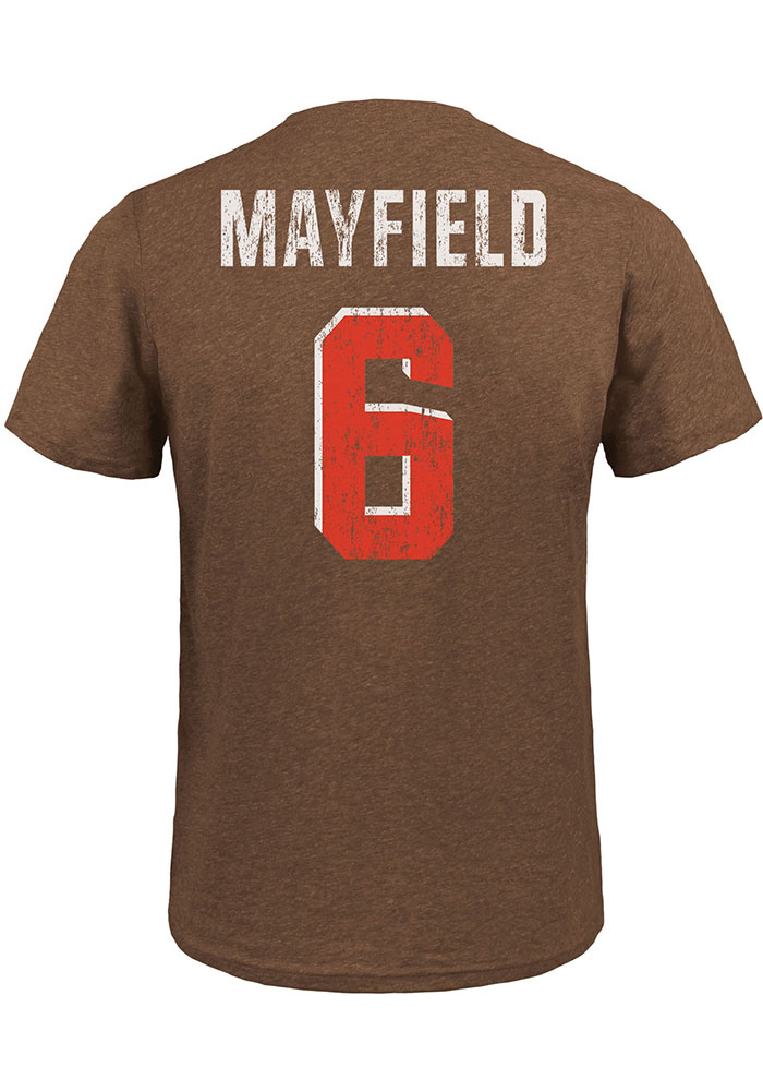 Baker Mayfield Cleveland Browns Brown Name & Number Short Sleeve Fashion Player T Shirt - Image 1
