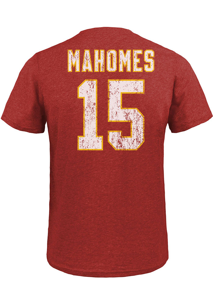 Patrick Mahomes Kansas City Chiefs Red Name & Number Short Sleeve Fashion Player T Shirt - Image 1