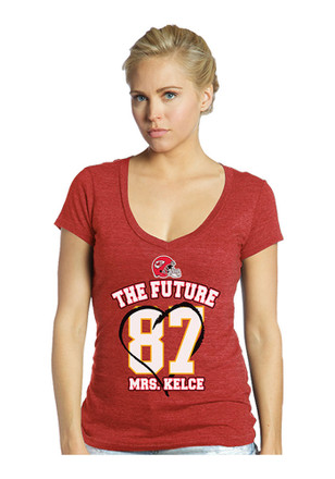Travis Kelce Majestic Threads KC Chiefs Womens Red The Futre Mrs. Kelce Player Tee