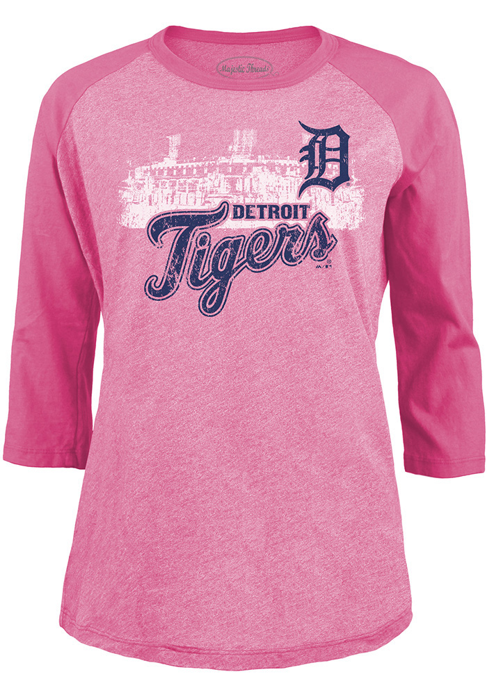 Detroit Tigers Womens Pink Triblend LS Tee - Image 2