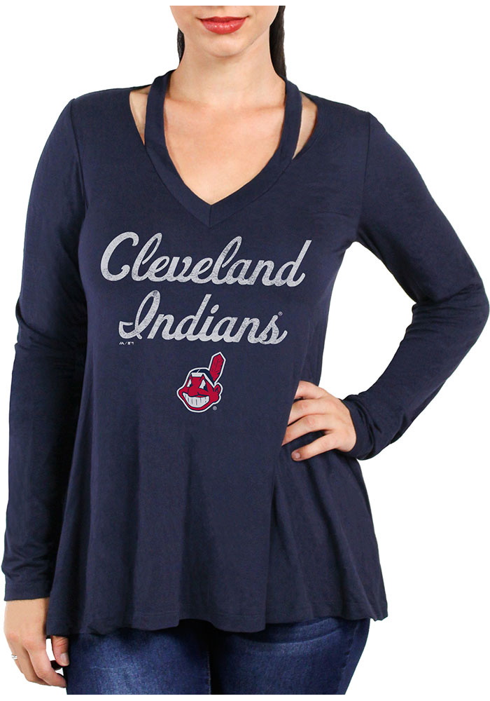 Cleveland Indians Womens Navy Blue Swing LS Tee - Image 1