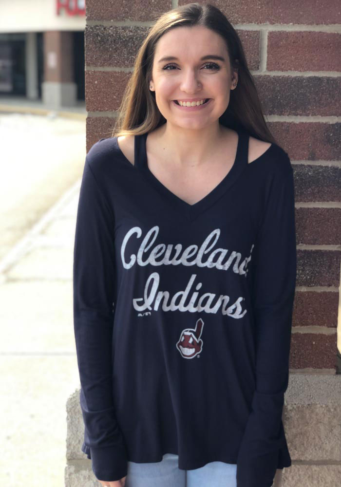 Cleveland Indians Womens Navy Blue Swing LS Tee - Image 2