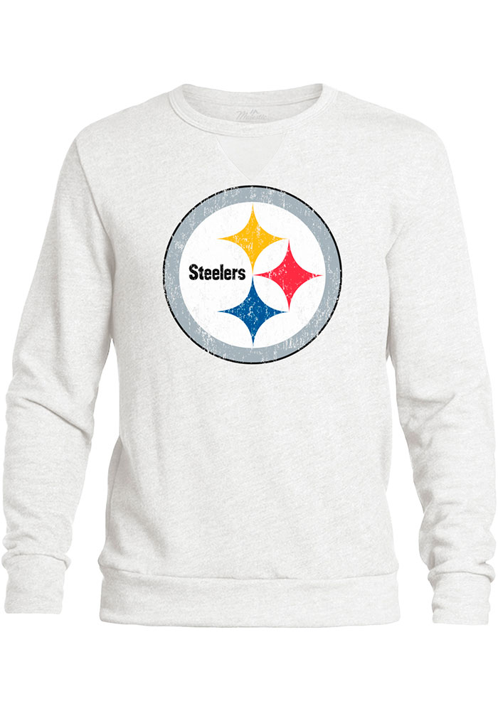 huge selection of 13607 899a5 Pittsburgh Steelers Mens White Primary Logo Long Sleeve Fashion Sweatshirt