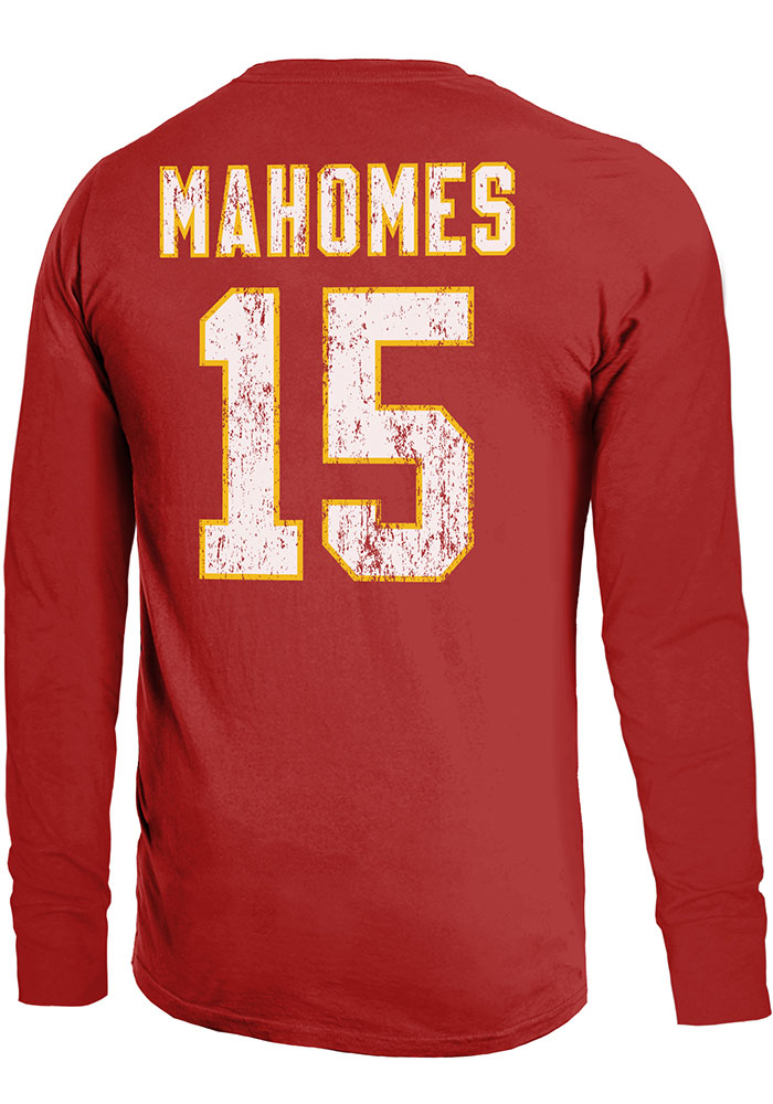 Patrick Mahomes Kansas City Chiefs Red Primary N&N Long Sleeve Player T Shirt - Image 1