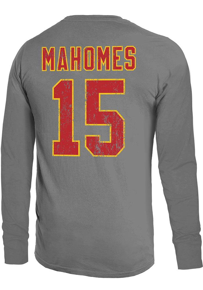 Patrick Mahomes Kansas City Chiefs Grey Primary Name And Number Long Sleeve Player T Shirt - Image 1
