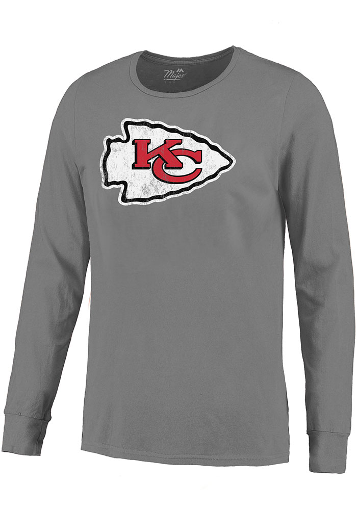 Patrick Mahomes Kansas City Chiefs Grey Primary Name And Number Long Sleeve Player T Shirt - Image 2