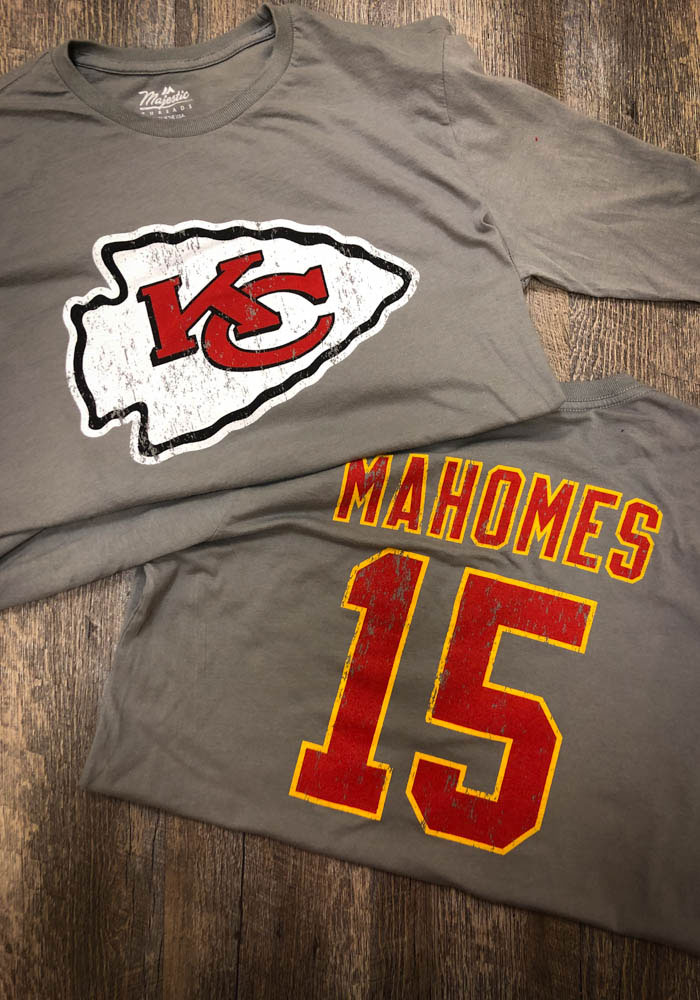 Patrick Mahomes Kansas City Chiefs Grey Primary Name And Number Long Sleeve Player T Shirt - Image 3