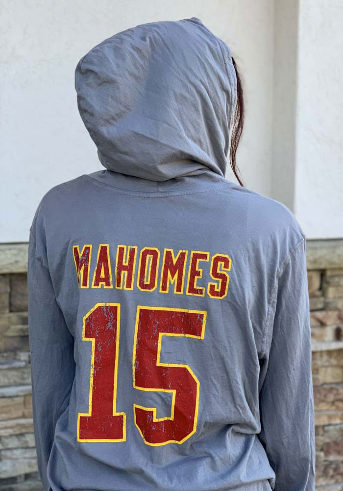 Patrick Mahomes Kansas City Chiefs Mens Grey Primary Name And Number Player Hood - Image 3