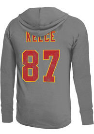Travis Kelce Kansas City Chiefs Majestic Threads Primary Name And Number Long Sleeve T-Shirt - Grey
