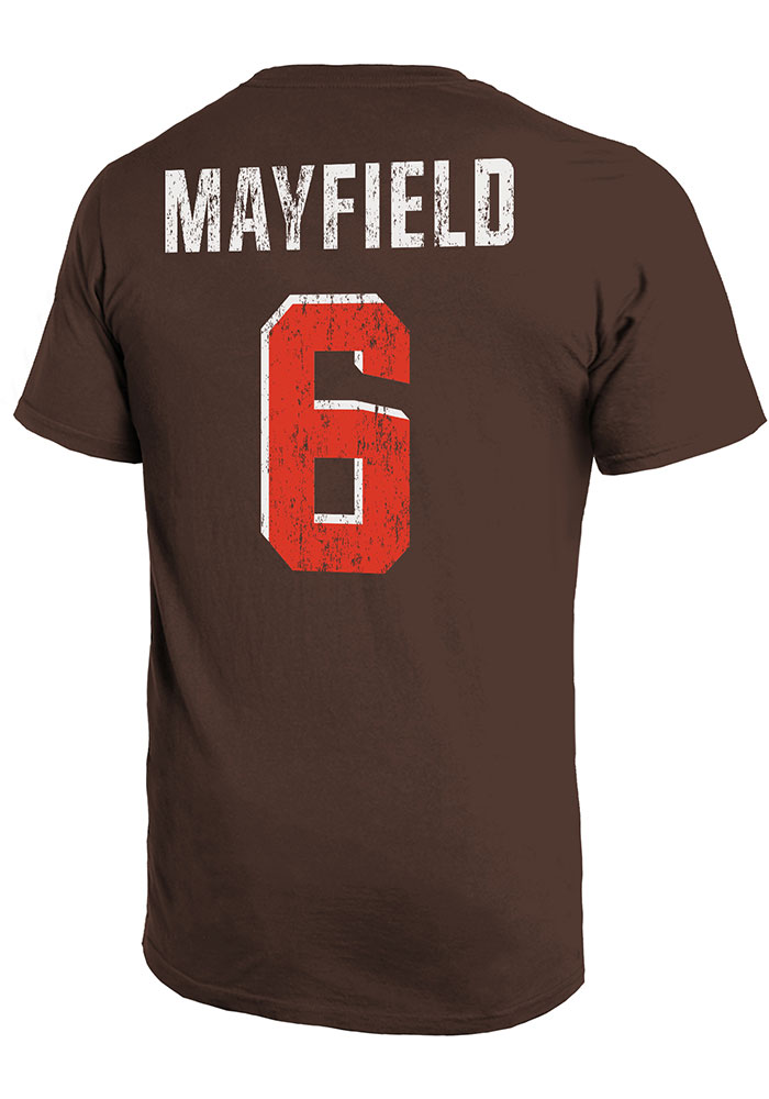 Baker Mayfield Cleveland Browns Brown Primary N&N Short Sleeve Fashion Player T Shirt - Image 1