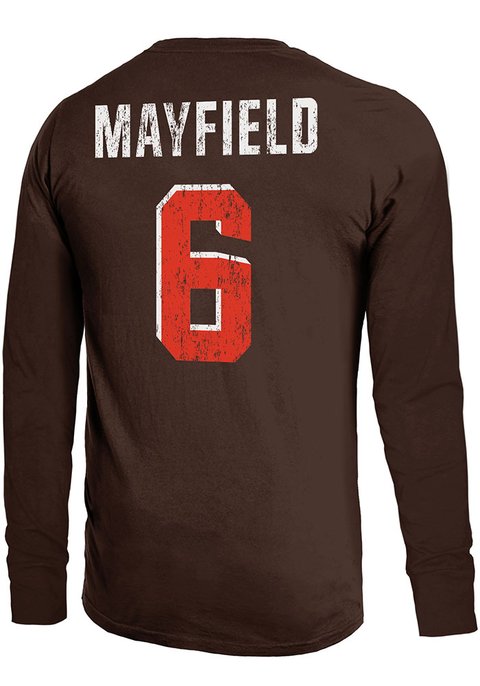 Baker Mayfield Cleveland Browns Brown Primary N N Long Sleeve Player T Shirt 55fdfdf6f