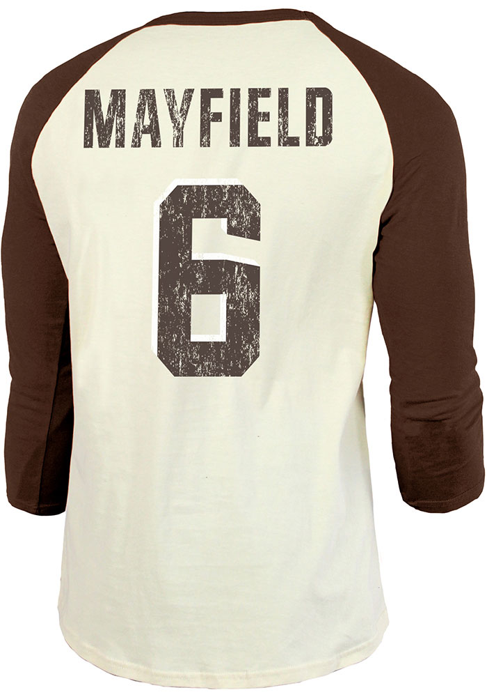 Baker Mayfield Cleveland Browns Brown Primary N&N Long Sleeve Player T Shirt - Image 1