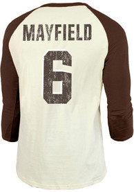Baker Mayfield Cleveland Browns Majestic Threads Primary Name And Number Long Sleeve T-Shirt - Brown