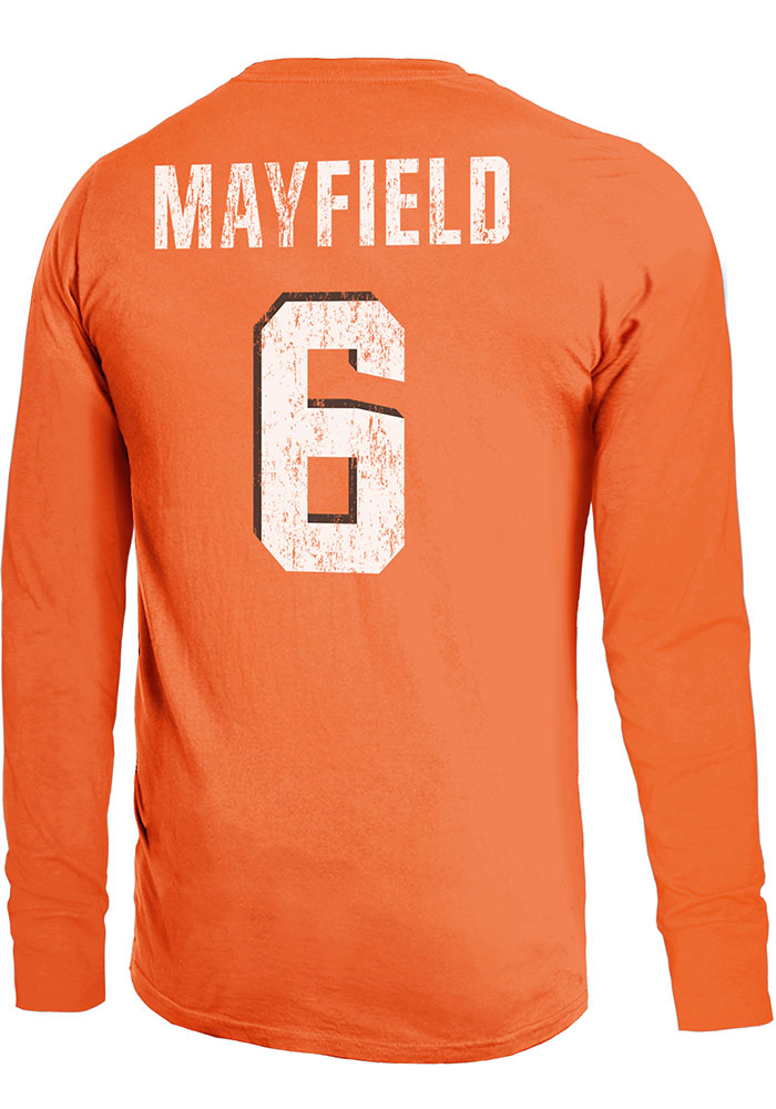Baker Mayfield Cleveland Browns Orange Primary N&N Long Sleeve Player T Shirt - Image 1