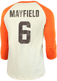 Baker Mayfield Cleveland Browns Majestic Threads Primary Name And Number Long Sleeve T-Shirt - Orange