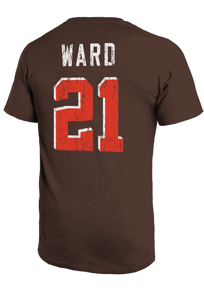 Denzel Ward Cleveland Browns Brown Primary N&N Short Sleeve Fashion Player T Shirt - Image 1