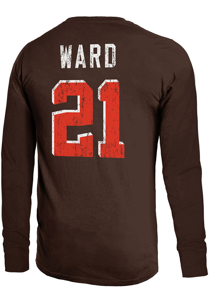 Denzel Ward Cleveland Browns Brown Primary N&N Long Sleeve Player T Shirt - Image 1