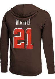 Denzel Ward Cleveland Browns Majestic Threads Primary Name And Number Long Sleeve T-Shirt - Brown