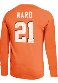 Denzel Ward Cleveland Browns Majestic Threads Primary Name And Number Long Sleeve T-Shirt - Orange