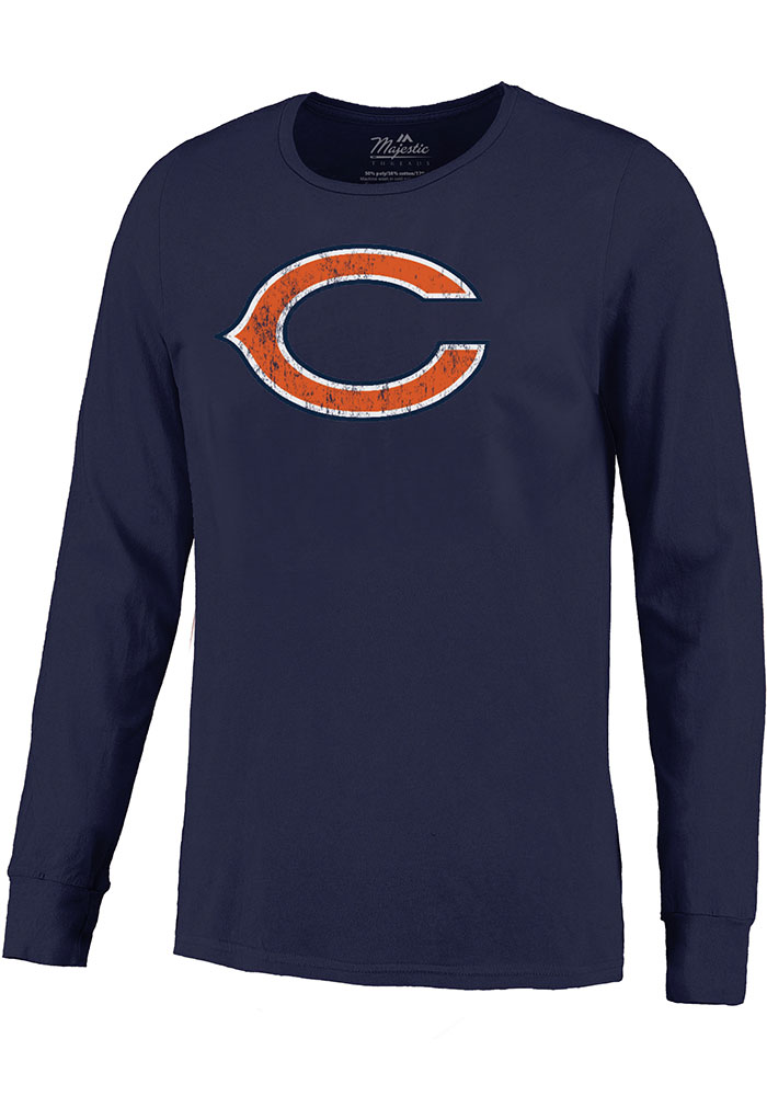 Khalil Mack Chicago Bears Navy Blue Primary Name And Number Long Sleeve Player T Shirt - Image 2