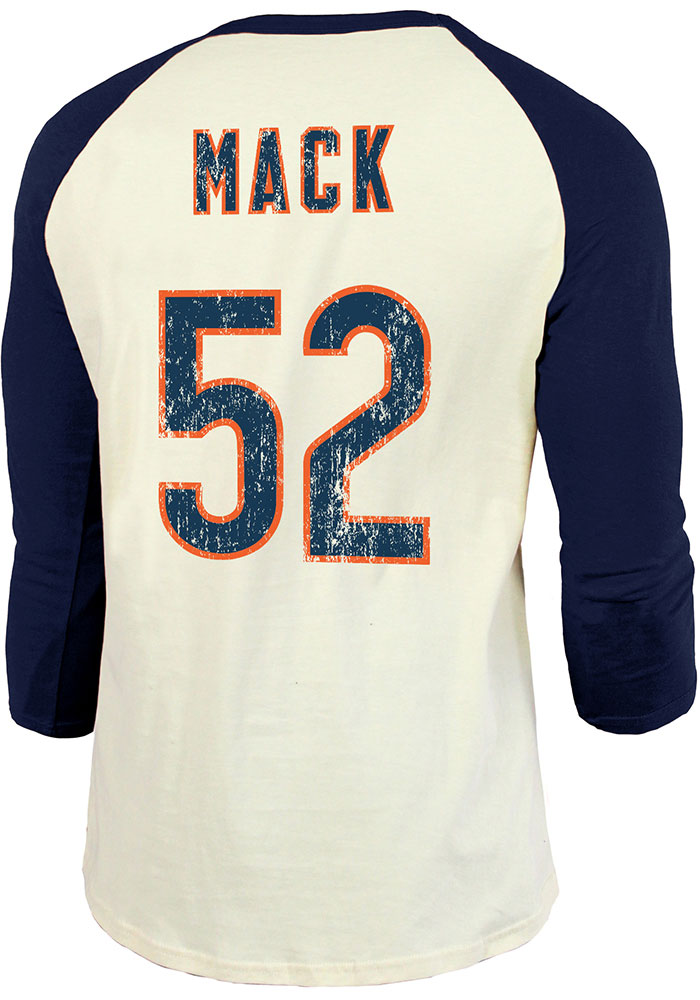 Khalil Mack Chicago Bears Navy Blue Primary Name And Number Long Sleeve Player T Shirt - Image 1