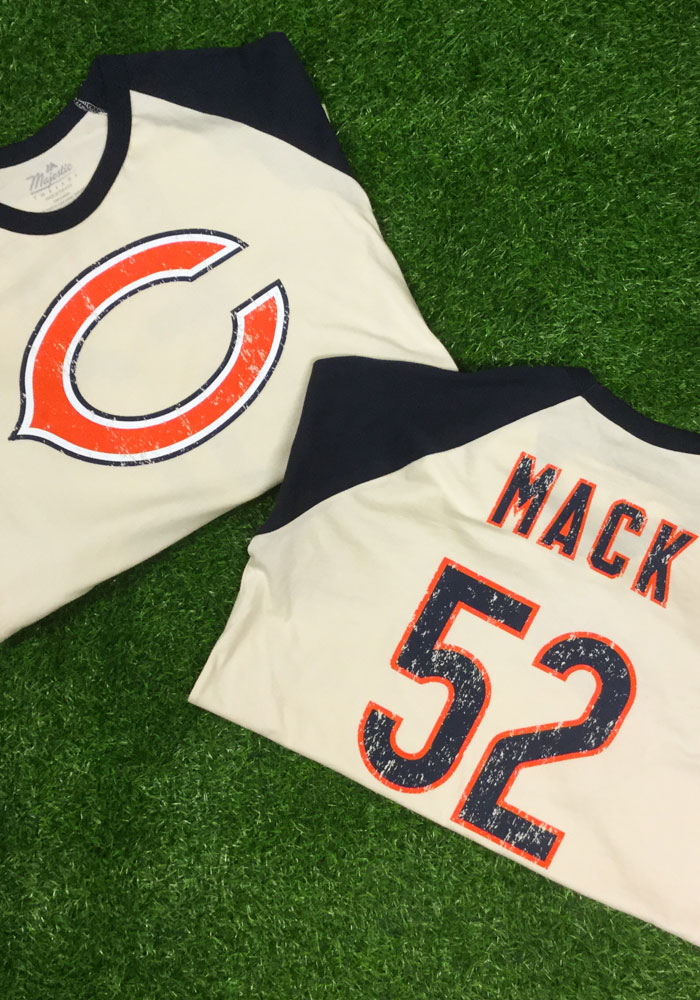 Khalil Mack Chicago Bears Navy Blue Primary Name And Number Long Sleeve Player T Shirt - Image 3