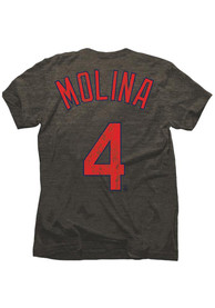 Yadier Molina STL Cardinals Gray Tri-Blend Name And Number Fashion Player Tee