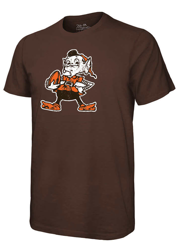 Cleveland Browns Brown Retro Primary Short Sleeve Fashion T Shirt - Image 1