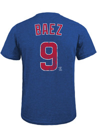 Javier Baez Chicago Cubs Majestic Threads Name And Number T-Shirt - Blue