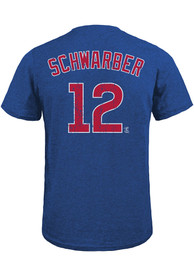Kyle Schwarber Chicago Cubs Majestic Threads Name And Number T-Shirt - Blue