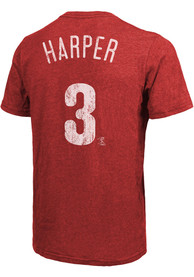 Bryce Harper Philadelphia Phillies Majestic Threads Name And Number T-Shirt - Red