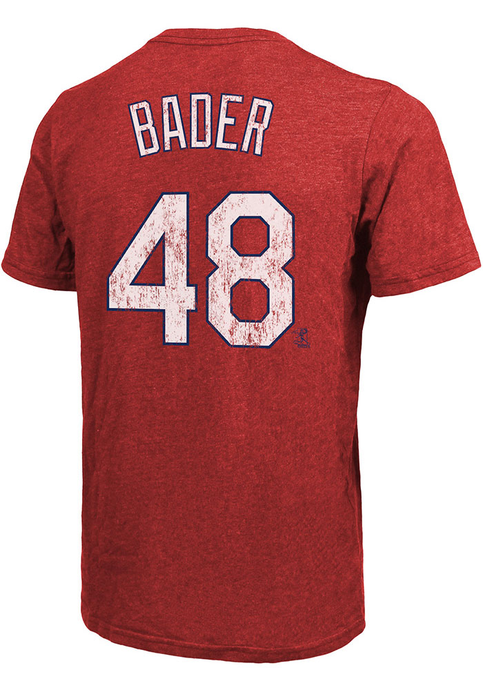 Harrison Bader St Louis Cardinals Red Triblend N & N Short Sleeve Fashion Player T Shirt - Image 1