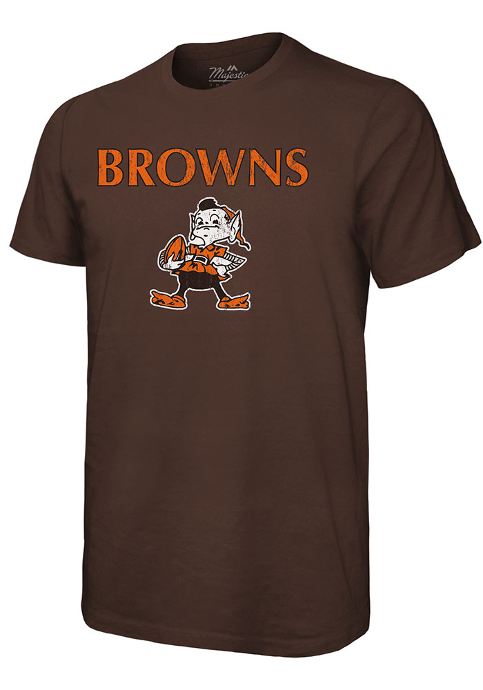 Cleveland Browns Brown Wordmark Over Retro Short Sleeve Fashion T Shirt - Image 1