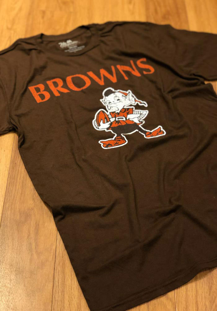 Cleveland Browns Brown Wordmark Over Retro Short Sleeve Fashion T Shirt - Image 2