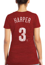 Bryce Harper Philadelphia Phillies Womens Majestic Threads Name and Number Triblend T-Shirt - Red
