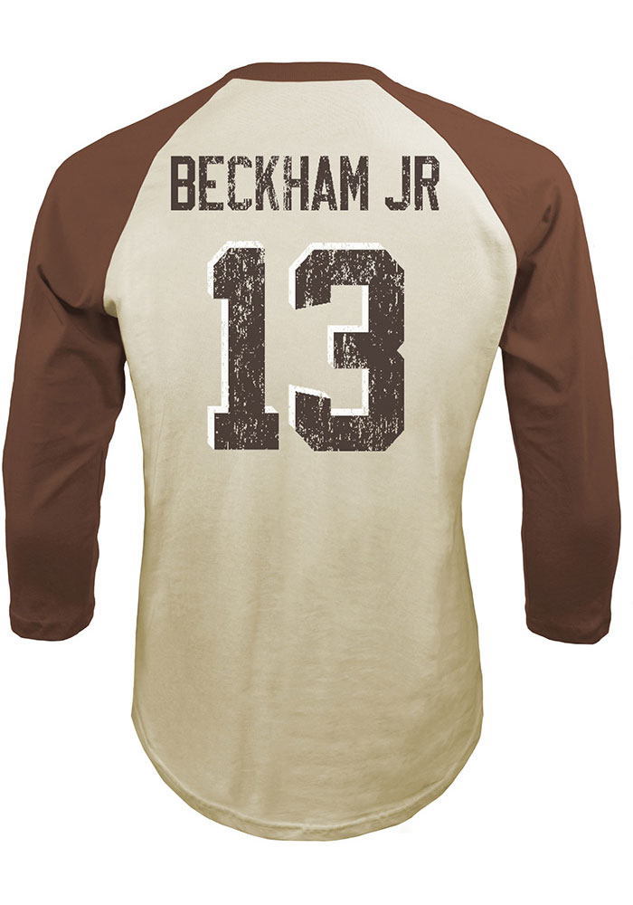 Odell Beckham Jr. # Cleveland Browns White Majestic Threads N & N Long Sleeve Fashion T Shirt - Image 1