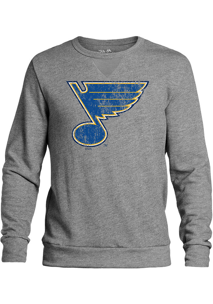 St Louis Blues Mens Grey Primary Logo Long Sleeve Fashion Sweatshirt - Image 1