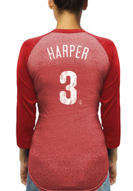 Bryce Harper Philadelphia Phillies Womens Majestic Threads Name and Number Racerback Long Sleeve T-Shirt - Red