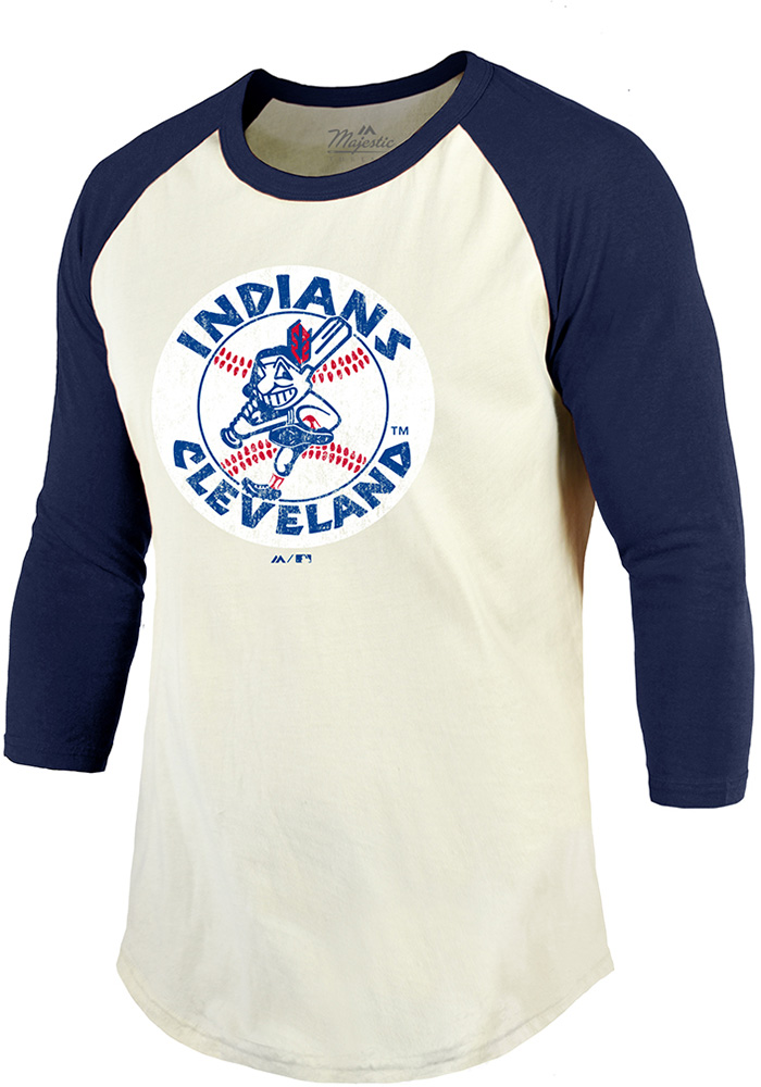 Cleveland Indians White Cooperstown Raglan Long Sleeve Fashion T Shirt - Image 1