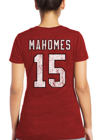 Patrick Mahomes Kansas City Chiefs Womens Majestic Threads Name and Number Triblend T-Shirt - Red