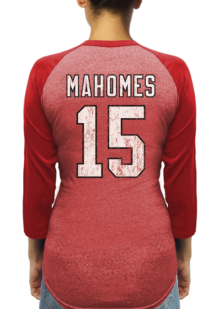 Patrick Mahomes Kansas City Chiefs Womens Red Name and Number Triblend Long Sleeve Player T Shirt - Image 1