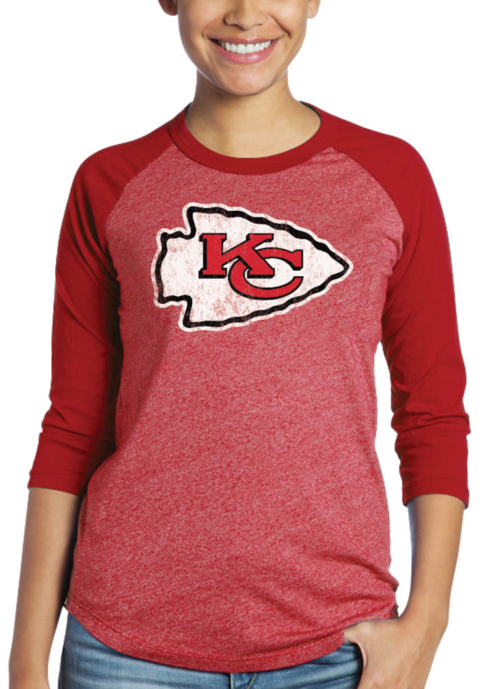 Patrick Mahomes Kansas City Chiefs Womens Red Name and Number Triblend Long Sleeve Player T Shirt - Image 2