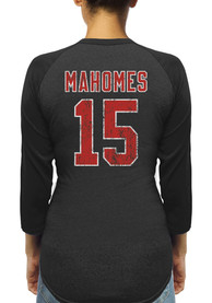 official photos 87f38 0fc05 Patrick Mahomes Kansas City Chiefs Womens Black N&N Triblend 3/4 Raglan  Long Sleeve Player T Shirt