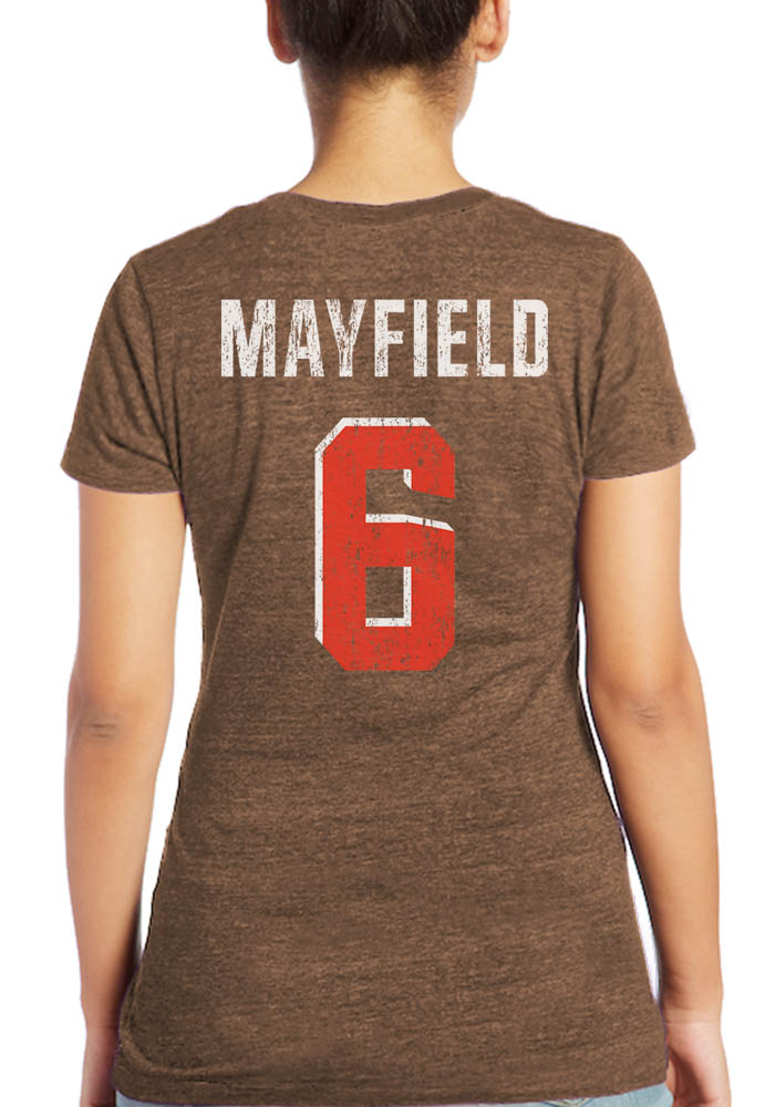 Baker Mayfield Cleveland Browns Womens Brown N&N Triblend Player T-Shirt - Image 1