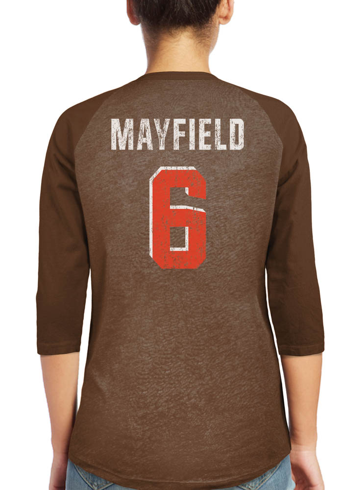 Baker Mayfield Cleveland Browns Womens Brown N&N Triblend 3/4 Raglan Long Sleeve Player T Shirt - Image 1