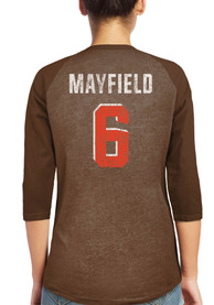 Baker Mayfield Cleveland Browns Womens Majestic Threads Name and Number Raglan Long Sleeve T-Shirt - Brown