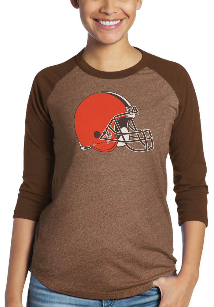 Baker Mayfield Cleveland Browns Womens Brown N&N Triblend 3/4 Raglan Long Sleeve Player T Shirt - Image 2