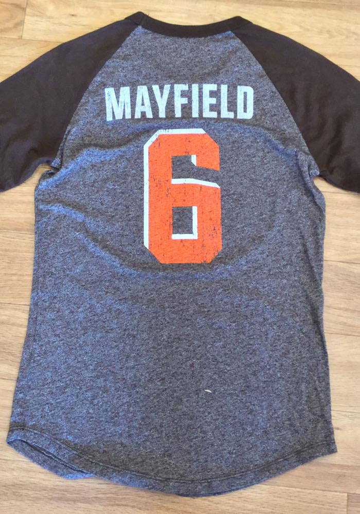 Baker Mayfield Cleveland Browns Womens Brown N&N Triblend 3/4 Raglan Long Sleeve Player T Shirt - Image 4