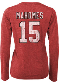 Patrick Mahomes Kansas City Chiefs Womens Majestic Threads Boyfriend Long Sleeve T-Shirt - Red