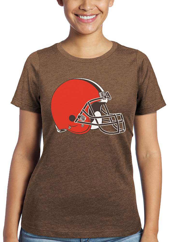 Cleveland Browns Womens Brown Triblend Crew Short Sleeve T-Shirt - Image 1
